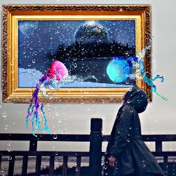 freetoedit remixed frame jellyfish girl